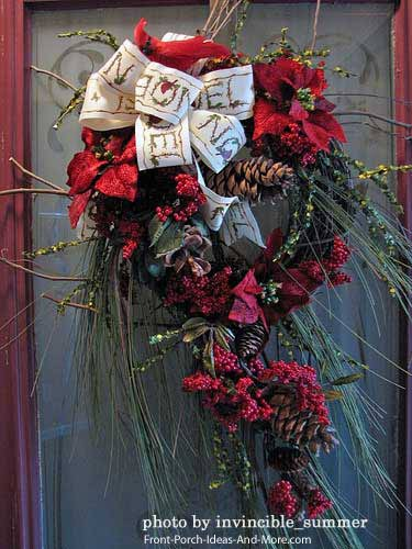 Creative and festive holiday front door wreath