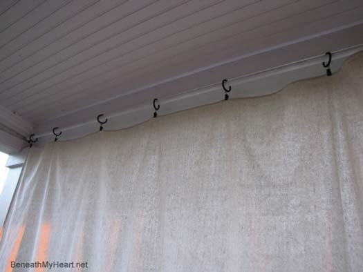 Porch Curtains Shown Hanging On Rod