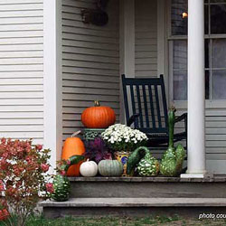 decorative pumpkins on front porch for fall