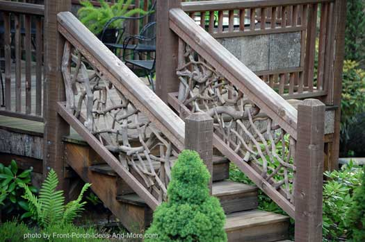 natural railings on front porch steps