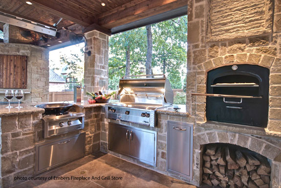 outdoor kitchen by Embers Fireplace and Grill Store