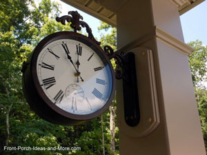 outdoor clock on vinyl porch column on front porch