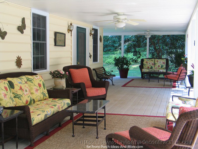outdoor porch furniture with outdoor rugs and exterior fans