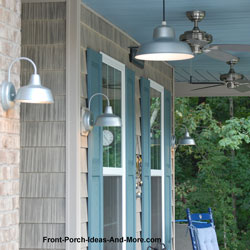 sconce and hanging lights on front porch