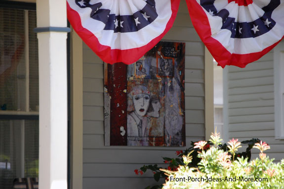 contemporary outdoor artwork on front porch in Maryville TN