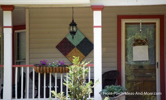 Outdoor artwork on front porch in Maryville TN