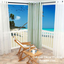 outdoor white porch curtains with seascape background