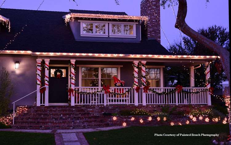 West coast home decorated with Christmas lights