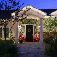 front door with Christmas decoration