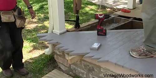 laying porch floor around corners