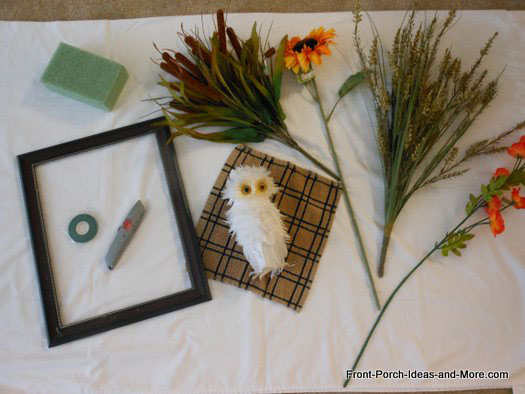 materials needed for owl frame wreath