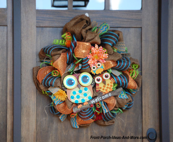 owls on front door wreath for fall