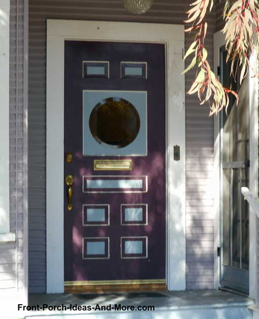 purple front door on porch