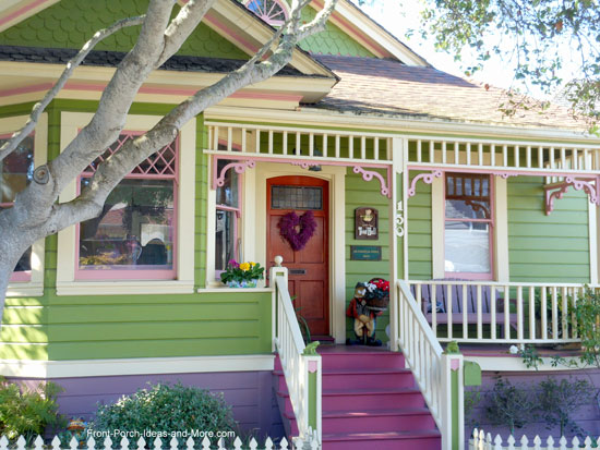 Sweet cottage style porch decorated for Valentine Day