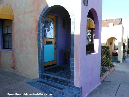 stucco blue front porch