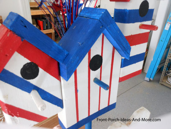 bird houses painted for the 4th of July