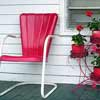 red retro metal chair
