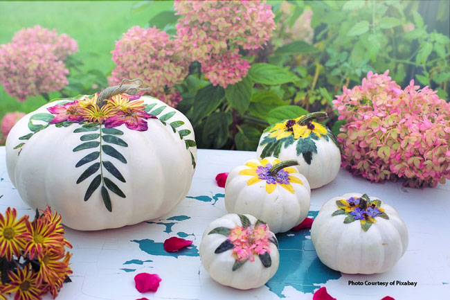 painted and decorated gourds and pumpkins for fall