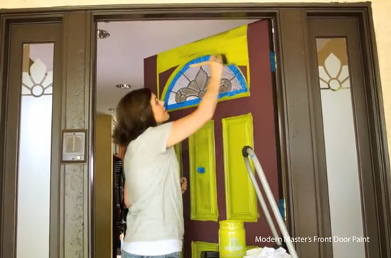 painting front door rails with Modern Masters Front Door Paint