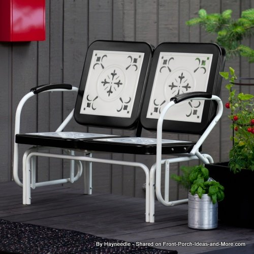Retro metal glider built for two - in black and white - from Hayneedle
