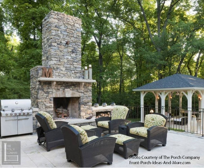 patio with massive fireplace and seatting area