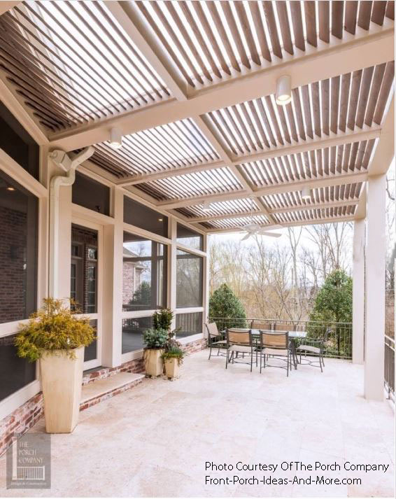 patio lighting and fan on pergola