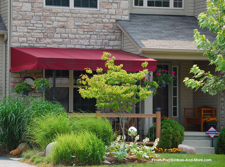 Patio porch extension with decorative porch awning