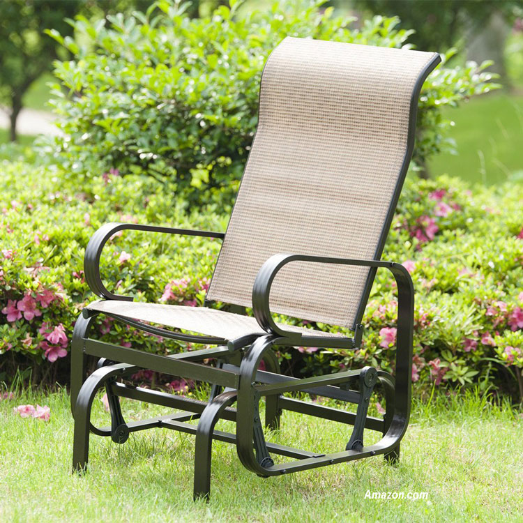 wicker glider chair on lawn
