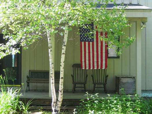 A simple country porch full of patriotism