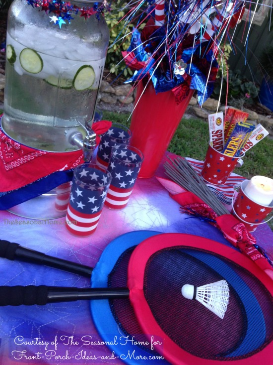 4th of July game table setup - idea courtesy of Eileen at The Seasonal Home