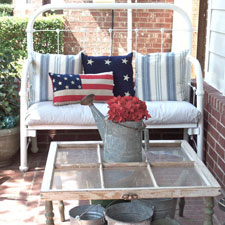 Patriotic decorations on front porch