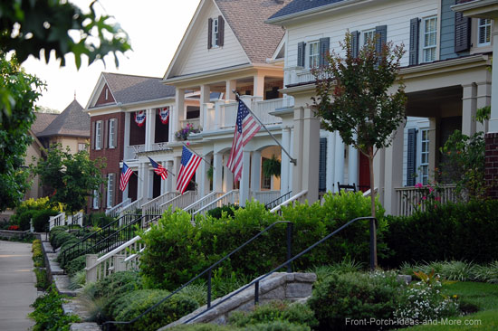 front porches displaying the American Flag