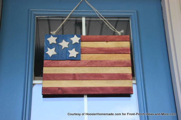 patriotic American flag on front door for 4th of July