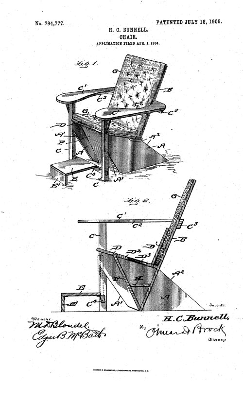 picture of Adirondack chair design for US patent