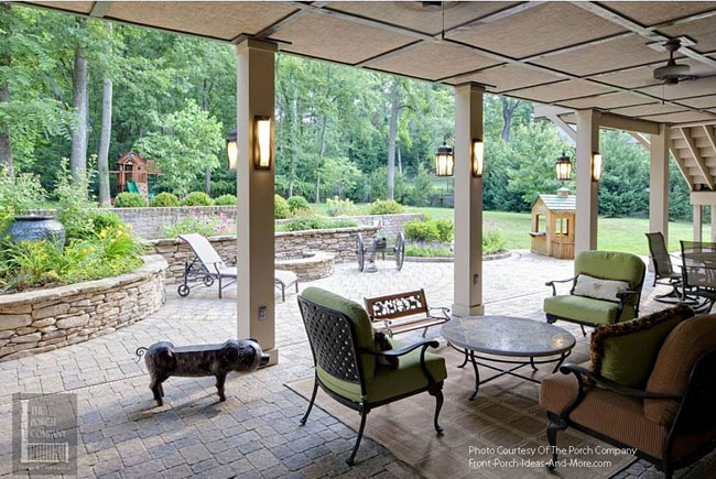 paver patio with screened porch