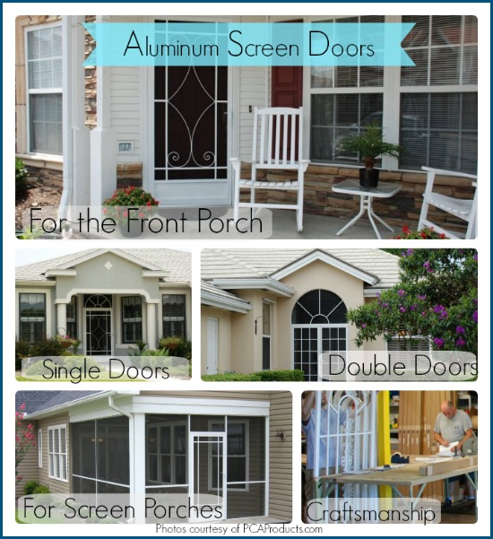 collage of PCA Products custom screen doors