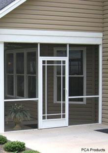 custom designed front aluminum screen door collage