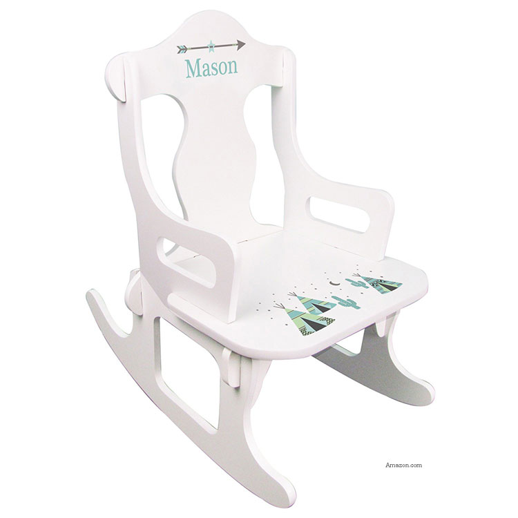white personalized children's rocking chair
