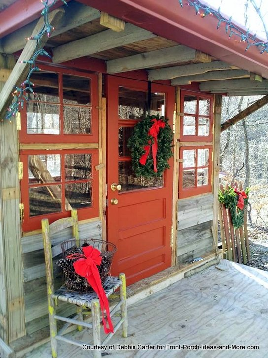 Fia's playhouse decorated for Christmas
