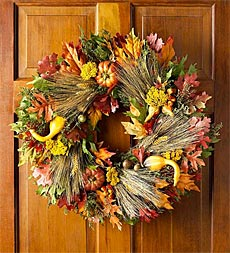 gourds and autumn colored front door wreath