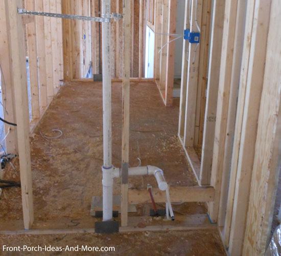 plumbing rough in for wash tub