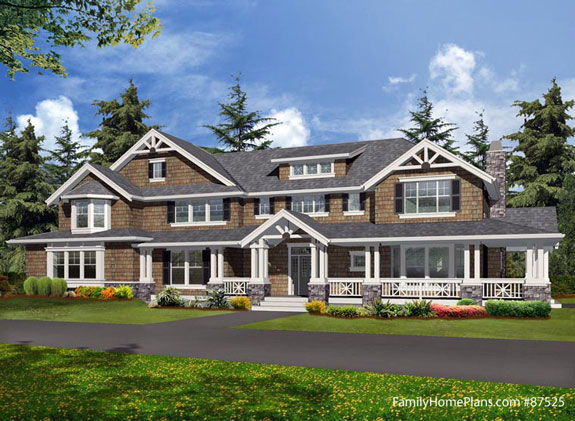 Large home with expansive front porch plan from familyhomeplans.com 87525