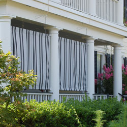 striped porch curtains on front porch