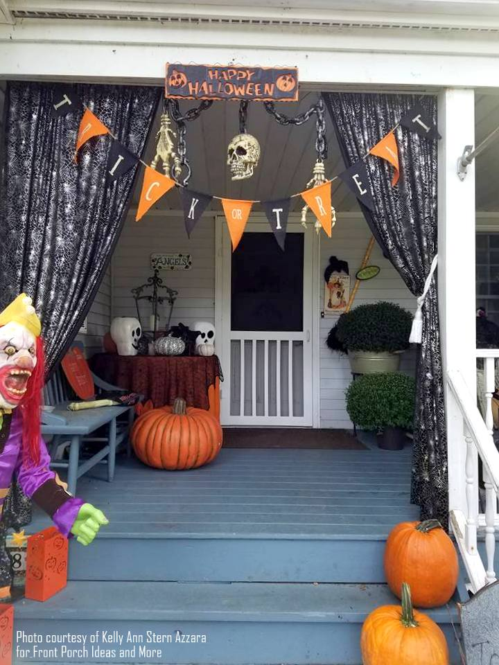 Kelly Ann's Halloween porch - trick or treaters are given a grand welcome with these porch curtains