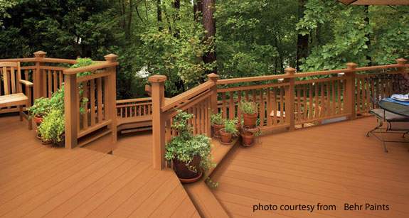 Beautiful deck painted with Behr's Deckover paint