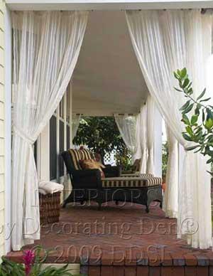 Outdoor curtains as a porch enclosure