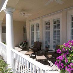 brightly colored front porch decor