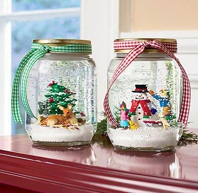porch decorations - snow globe in mason jar
