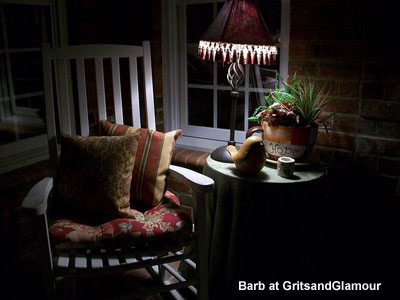 Barb's brick porch at night