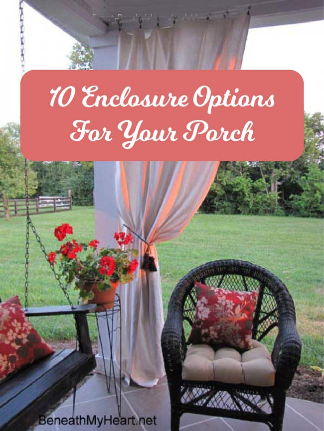 homemade outdoor curtains are one way of enclosing your porch